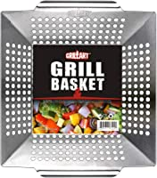 Vegetables /& Seafood Nicunom 2 Pack BBQ Grilling Pan Stainless Steel Grill Topper with Handles Non-Stick Barbecue Grill Work Grill Cookware for Meat