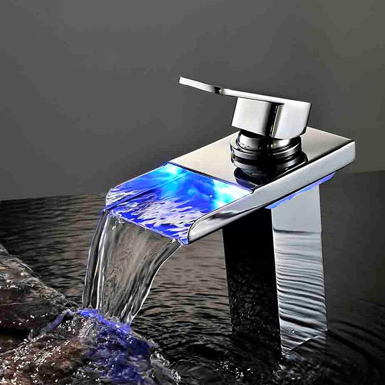 GQSS Alle kupfernen Bassin-Hahn, LED-Wasserfall-einzelnes Loch-Bassin-heier und kalter Hahn ( Farbe   Silber-01 )