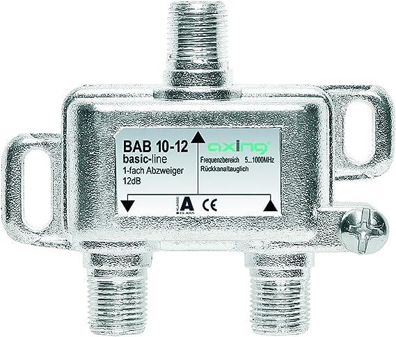 Axing BAB 10-18 - Derivador Acoplador direccional de señal TV 18 dB con conector de F para TDT radio CATV televisión por cable (5-1006 MHz)