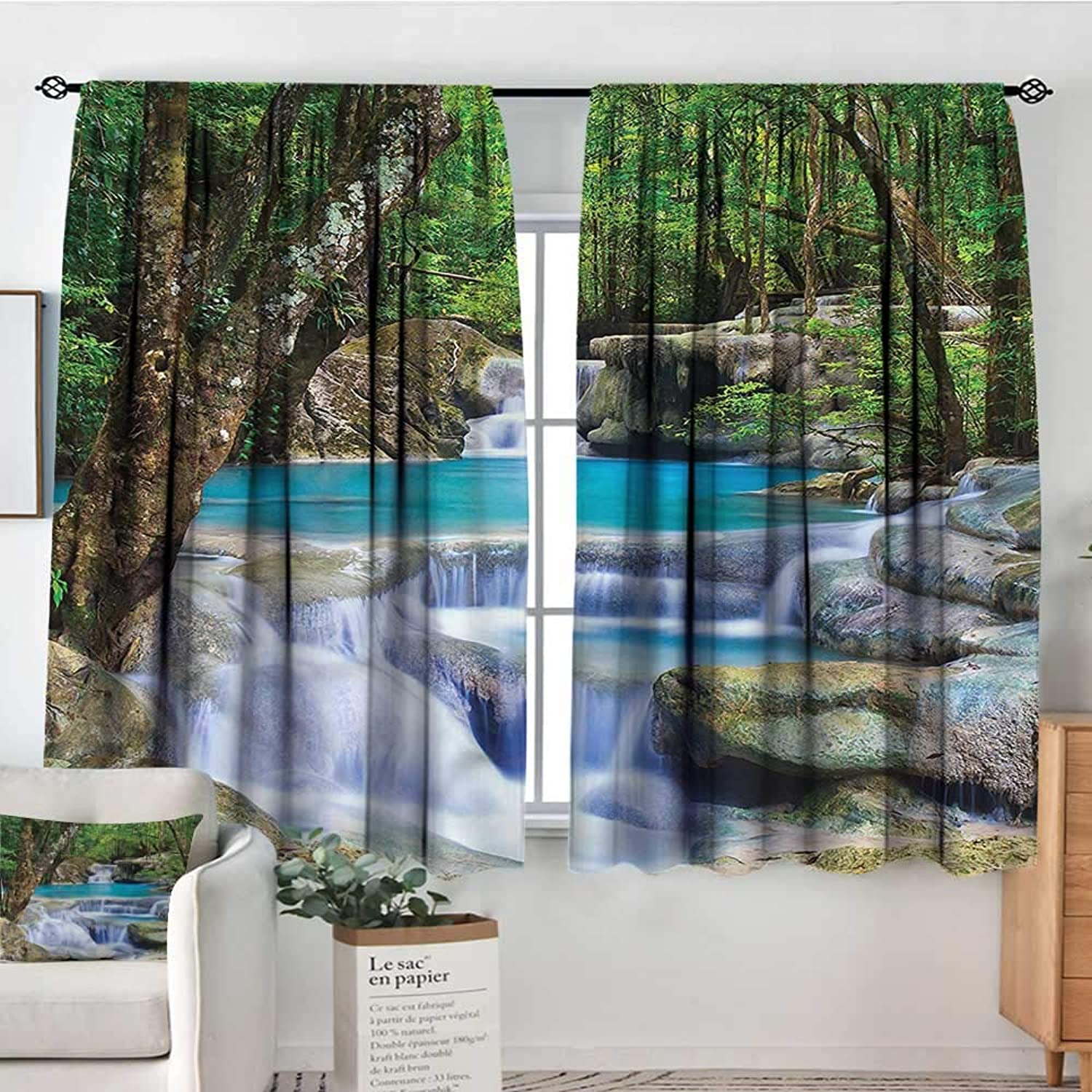 Familytaste Waterfall,Rod Curtains Rocks in Waterfall Lake 42 X54  Backout Curtains for Kids Iving Room