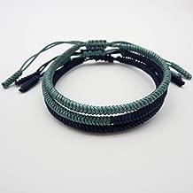 Handmade Bracelet for Men and Women Tibetan Lucky Bracelet Woven Bracelets Lucky Mid Night Color and Black String Bracelets for Protection Set of 3 by LaMiTales