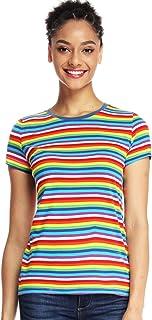 Rainbow T Shirts Women Striped Shirt Crew Neck Stripes Tee Short Sleeve Tops
