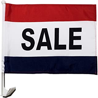 12 Car Window Flags by Mission Flags Sale Clip On Perfect for Car Auto Sales - Sold by The Dozen