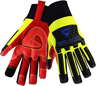 West Chester 2X Red, Hi-Viz Green And Black R2 Winter Synthetic Leather Fleece Lined Cold Weather Gloves - 72 Pair/Case