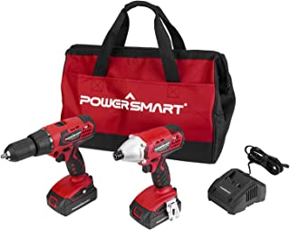 """PowerSmart Combo Kit, 20V MAX Taladro inalámbrico / Driver Combo Kit, sin cable 1/4"""" Impact Driver, 45N.m Chuck 1/2 pulgada taladro inalámbrico, 2-Tool Combo Kit, 2 baterías y cargador incluido, PS76300C"""