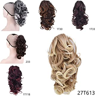 Short Ponytail for Women Clip on Ponytail Hair Extensions Synthetic Claw Wavy Ponytail Hair (27T613)