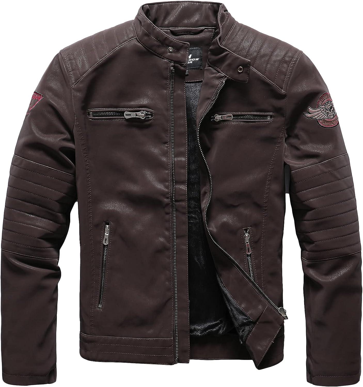 Nightborne Mens Leather Jacket Bomber Jacket Motorcycle Blousons