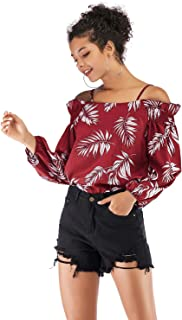 LICHONGGUI AU Printed Sling Chiffon New Long Sleeve Collar Shirt Fashion Tops (Color : Red, Size : M)