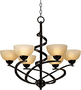 """Bronze Chandelier Dark Ribbon Classic Glass 27 1/2"""" Wide Fixture for Dining Room - Franklin Iron Works"""