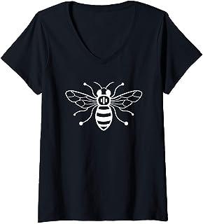 Womens Manchester Worker Bee Working Class Worker Bee V-Neck T-Shirt