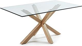 LF - Table de salle à manger Arya 180 x 100 plateau verre pied naturel