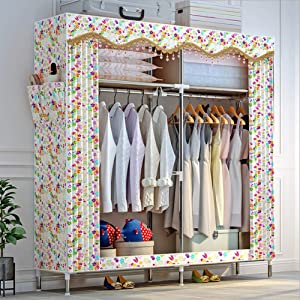 LUCKyou  Cloth Wardrobe Steel Tube Reinforcement Bedroom Furniture Style Simple Easy Assemble Portable Locker Closet Organizer Bag Style Super Durable 002