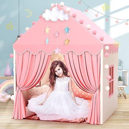 キッズテント 子供 テント おもちゃハウス 3-8歳 女の子の室内テント ボールプール 折り畳み式 簡単に組立 誕生日・子どもの日・出産祝い・入園祝い・クリスマスのプレゼントに最適 室外/室内遊具 知育玩具 おままごと(ピンク)