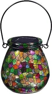 Evergreen Garden Stunning Tiffany Style Stained Glass Kaleidoscope of Light Solar Glass Lantern