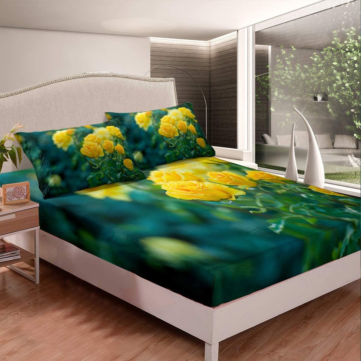 Fitted Sheet Yellow Rose Popular shop is the lowest price challenge Plant Watercolor Sheets Bed Pai Vibrant Sale Special Price