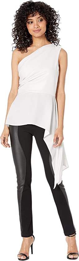 Metallic Draped Shoulder Top