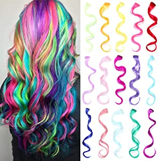 30 Pcs Colorful Clip in Hair Extensions 20 Inch Party Highlights Synthetic Hairpieces Long Curly Multi Colors Synthetic Hair Extensions for Women Girls