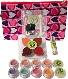 Go Green Make Up Kit - Real Organic Make Up Set for Girls,  Includes Lipstick,  Blush,  Eye Shadow,  Lip Gloss,  and Brush Set,  Great,  Parties or Perfect for Summer Activities