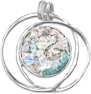 Ancient Roman Glass Hoop Pendant Necklace Textured Sterling Silver, Pendant Only