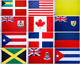 Blue Marble Marine Set of 12 Courtesy and Quarantine Flags for US, Canada, Bermuda, Bahamas and Greater Antilles. 12 X 18 inches, UV Fade-Resistant.