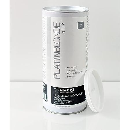 Makki PlatinBlond - Polvo decolorante para el cabello con antiamarillo y proteínas de seda, 500 g