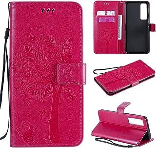 携帯ケース Huawei Nova 7 Pro Tree&Catエンボスパターンホリゾンタルフリップレザーケース、ホルダー&カードスロット&ウォレット&ストラップ付き