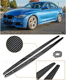 Replacement for 2012-2018 BMW F30 F31 3-Series M-Sport Models | EOS M Performance Style Carbon Fiber Side Skirts Rocker Panels Extension
