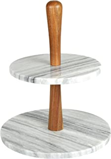 marble wood cake stand