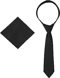 ربطات للأولاد - ربطة عنق وجيب مربع - رابطة عنق منسوجة مسبقًا للأطفال بسحاب - زي زفاف مدرسي