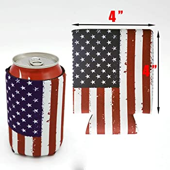 USA Patriotic Insulated Can Coolers Lot Of 6
