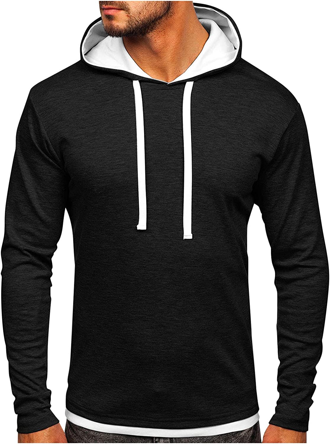 Men's 2021 New Hoodies Casual Long Sleeve Hooded Sweatshirts Loose Solid Color Drawstring Pullover Shirts