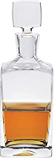 Kensington Collection Premier Handcrafted Decanter's - Elegantly Handcrafted Lead-Free & 100% Mouth Blown Fine Polish Crystal - Enzo Square Decanter 28 oz. - H10.25