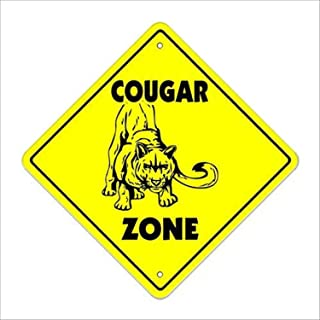 HAHUHU Metal Tin Sign Wall Decor Cougar Crossing Sign Tall cat Milf Hunter mom Fast 12x12 Inches