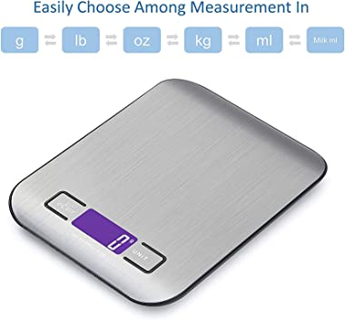 Digital Kitchen Scale Multifunction Food Scale, 11 lb 5 kg, Silver, Stainless Steel (Batteries Included)