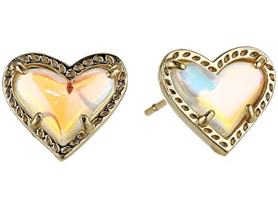 Kendra Scott Ari Heart Stud Earrings (Gold Dichroic Glass) Earring