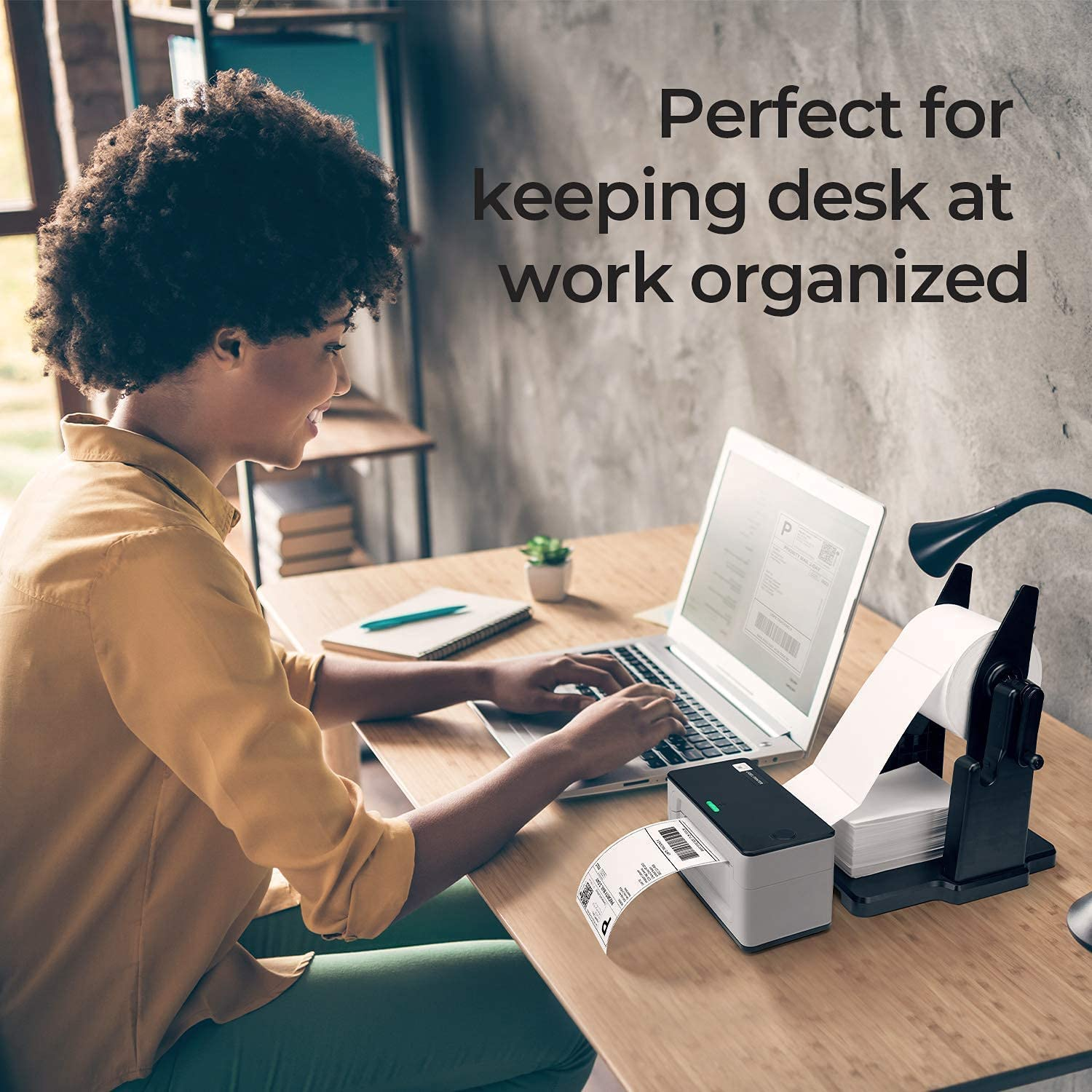 MUNBYN Label Printer with Big Paper Holder, 300 DPI High-Speed Direct Label Printer for Shipping Packages & Small Business, Compatible with USPS, UPS, FedEx, Shopify, Amazon, Ebay, etc