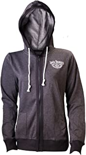 Jack Daniels Old Number 7 Official Womens New Grey Zipped Hoodie