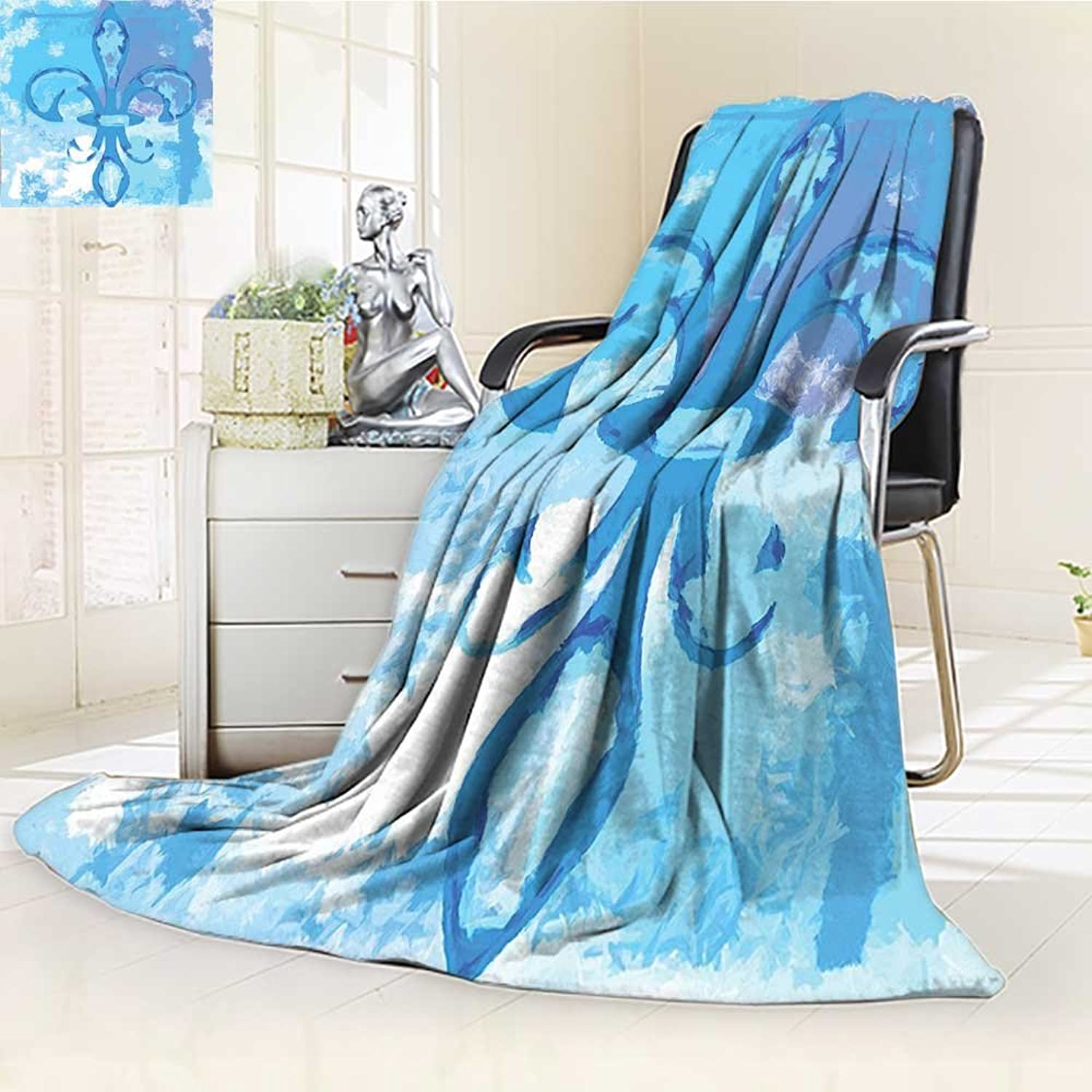 YOYIHOME Soft Warm Cozy Throw Duplex Printed Blanket Fleur De Lis of Lily Flower Like Frozen Heredic Nobility Emblem Queenly Style Print bluee Fuzzy Blanket s for Bed or Couch W59 x H47