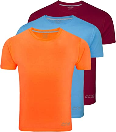 AWG - All Weather Gear Men's Polyester Dry Fit Round Neck Half Sleeve T-Shirts - Pack of 3