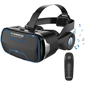 【最新改良版VRゴーグル】VRヘッドセット VRヘッドマウントディスプレイ 3D スマホVR ヘッドホン付き モバイル型 瞳孔/焦点調節 非球面光学レンズ 4.7~6.5インチスマホ 本体操作可 眼鏡対応 1080PHD高画質 Bluetoothコントローラ付 近視適用 放熱性よい 120°視野角 着け心地よい 4.7~6.5インチiPhone& android などのスマホ対応 日本語説明書付