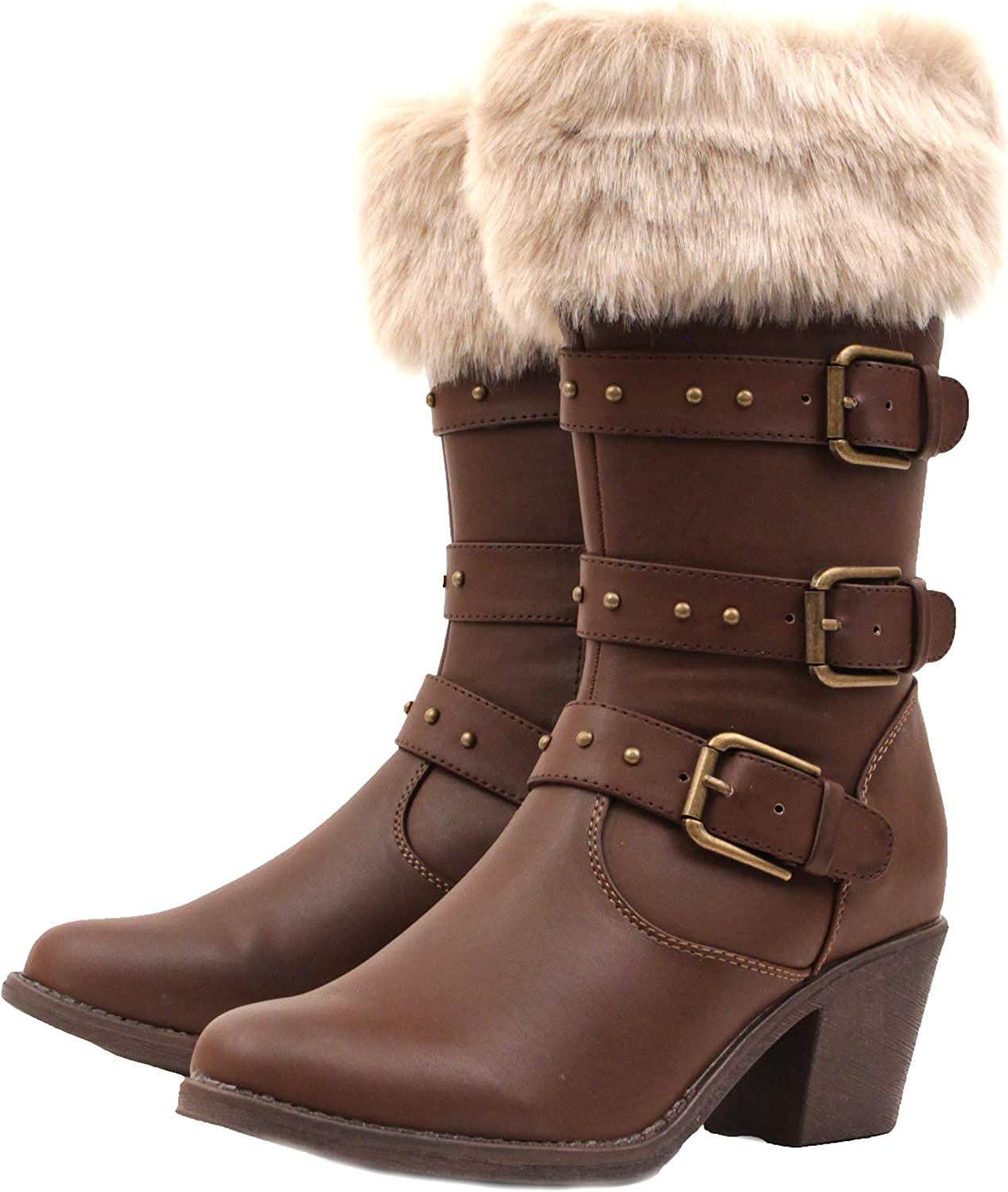 Luckers Women's Buckle Classic Western Mail order cheap Mid-Calf Cowgirl Boots