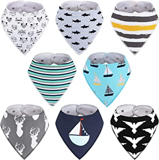 8-Pack Boys Bibs - Kirecoo Baby Bandana Drool Bibs for Drooling and Teething, 100% Organic Cotton and Super Absorbent Bibs for Baby Boys, Baby Shower Gift