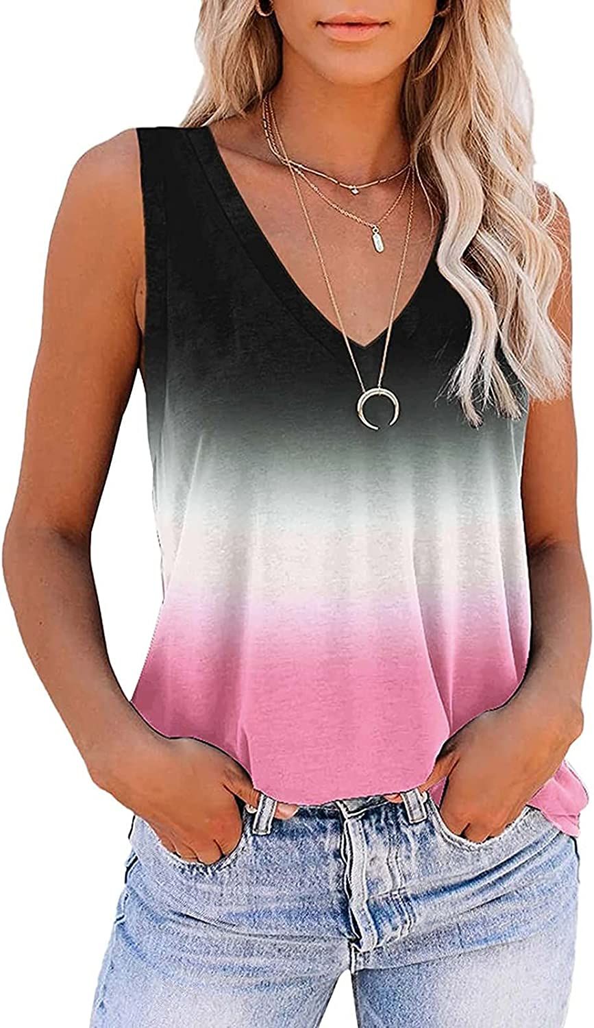 Jaqqra Tank Tops for Women Trendy V Neck Gradient Floral Tank Top Sleeveless Shirts Loose Workout Blouse Tops Tunic Tees