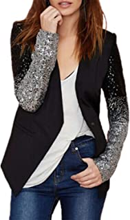 Women's Blazer Jacket Sparkle Sequin Button Long Sleeve Patchwork Suit Top Coat