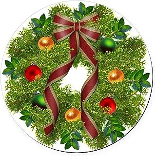 CafePress Xmas Wreath Round Car Magnet, Magnetic Bumper Sticker
