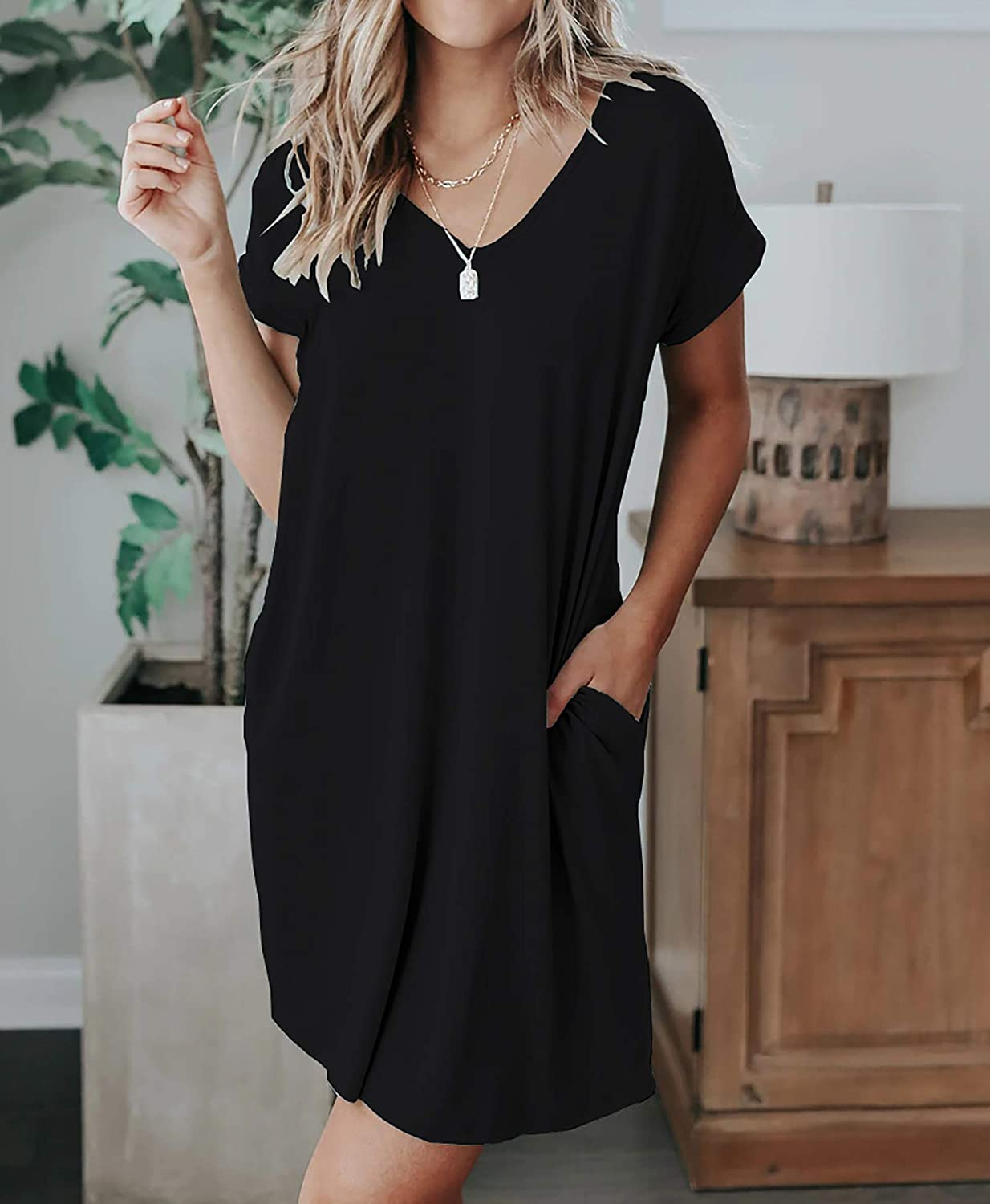 BTFBM Women V-Neck Short Sleeve Dresses Solid Color Casual Loose Fit T-Shirt Tunic Short Dress Pajamas with Pockets