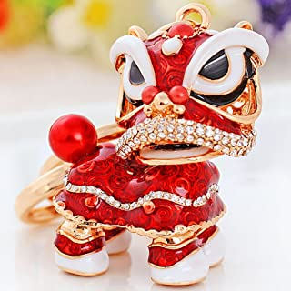 Chinese Lion Keychain Dance Pendant for The Christmas and Carnival (Right-Red)