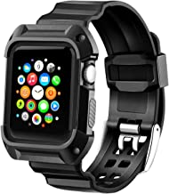 Compatible with Apple Watch Band with Case 38mm, MAIRUI Rugged Protective G Shock Replacement Wristband for Apple Watch Series 3/2/1, iWatch Nike+/Sport/Edition (Black)