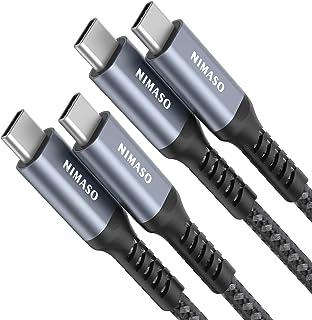 NIMASO Cable USB C a USB C[2 Pack/2M+2M],Cable PD 20V 3A 60W Carga Rápida Cable USB Tipo C Doble para Macbook Pro 16