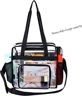 Clear Stadium Bag Heavy Duty - Totes Corssbody Purse Handle Shoulder Plastic Bag Concert College Sport Games Stadium Approved for Women 12x6x12 (Black-1)